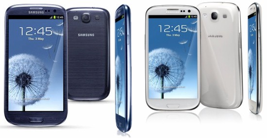 Samsung Galaxy SIII pebble blue and marble white
