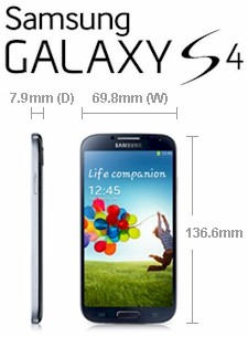 Samsung Galaxy S4 dimensions