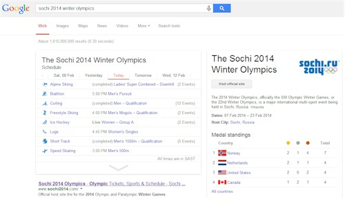 Google Sochi Winter Olympics Live Results